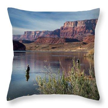 Colorado River Fisherman Throw Pillow