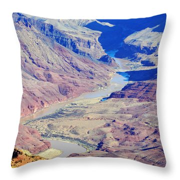 Colorado River Winding Through The Grand Canyon Throw Pillow by Shawn O'Brien