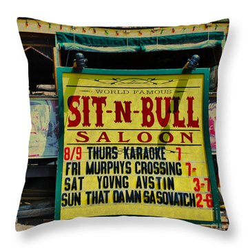 Colorado Sit-n-bull Saloon  Throw Pillow by Janice Rae Pariza
