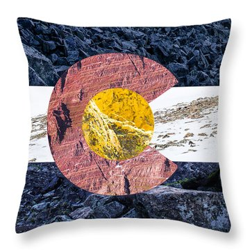 Colorado State Flag With Mountain Textures Throw Pillow