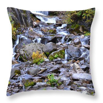 Colorado Waterfall Mountain Stream Throw Pillow by Andrea Hazel Ihlefeld