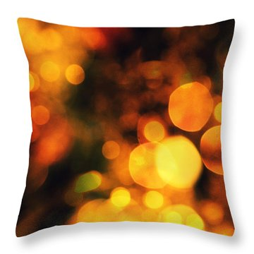 Throw Pillow featuring the digital art Coloured Bokeh Lights by Fine Art By Andrew David