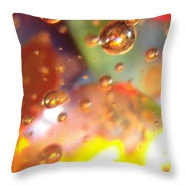 Colored Bubbles And Glass Throw Pillow