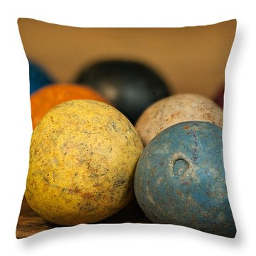 Colored Clay Marbles Throw Pillow