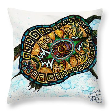 Colored Cultural Zoo C Eastern Woodlands Tortoise Throw Pillow by Melinda Dare Benfield