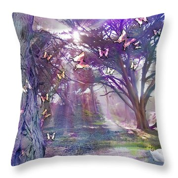 Colored Forest Throw Pillow by Alixandra Mullins