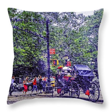 Colored Memories - Central Park Throw Pillow by Madeline Ellis