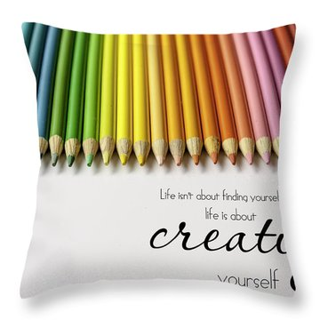 Colored Pencil Rainbow Throw Pillow