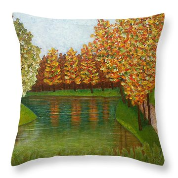 Colored Reflections Throw Pillow by Madalena Lobao-Tello