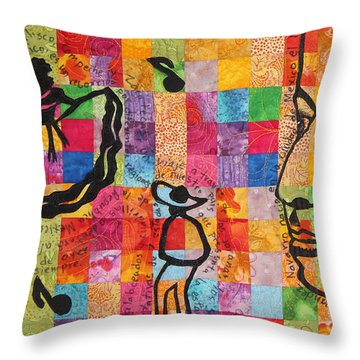 Colores De Mexico Quilt Detail Throw Pillow