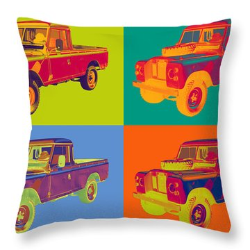 Colorful 1971 Land Rover Pick Up Truck Pop Art Throw Pillow