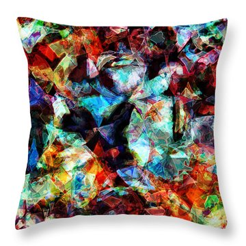 Throw Pillow featuring the digital art Colorful Abstract Design by Phil Perkins