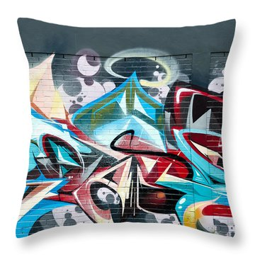 Colorful Abstract Graffiti Art On The Brick Wall Throw Pillow
