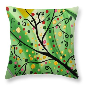Colorful Abstract Tree Acrylic Painting Art  By Saribelle Rodriguez Throw Pillow by Saribelle Rodriguez