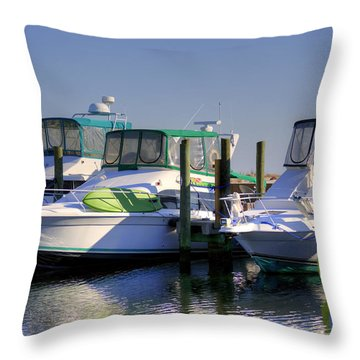 Colorful Accented Boats Throw Pillow by Cathy Jourdan