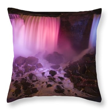 Colorful American Falls Throw Pillow by Adam Romanowicz