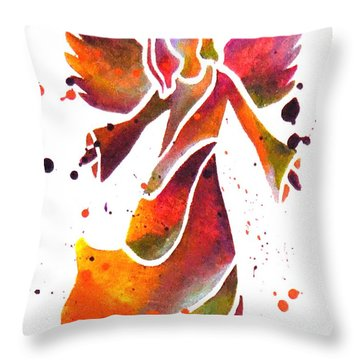 Colorful Angel Acrylic Abstract Painting By Saribelle Rodriguez Throw Pillow by Saribelle Rodriguez
