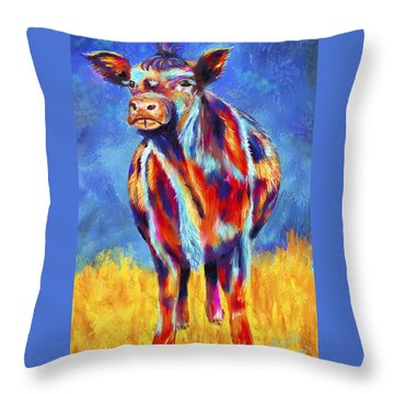 Colorful Angus Cow Throw Pillow by Michelle Wrighton