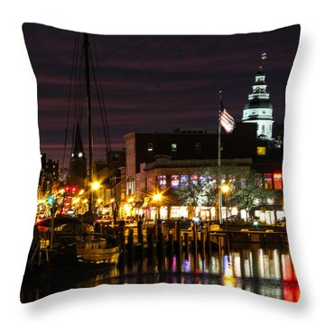 Colorful Annapolis Evening Throw Pillow by Jennifer Casey