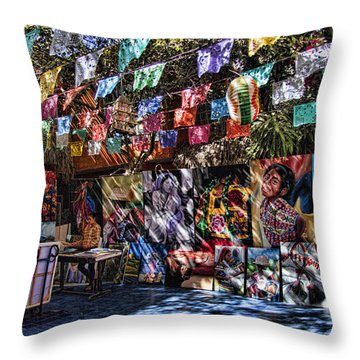 Colorful Art Store In Mexico Throw Pillow