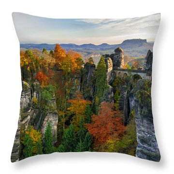 Colorful Bastei Bridge In The Saxon Switzerland Throw Pillow