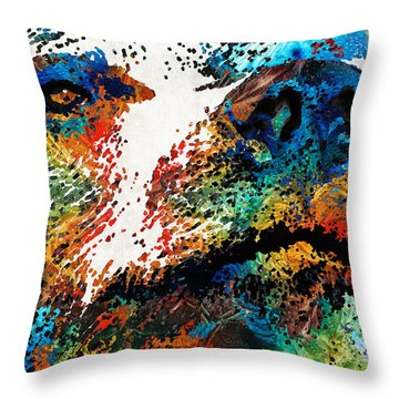 Colorful Bear Art - Bear Stare - By Sharon Cummings Throw Pillow by Sharon Cummings