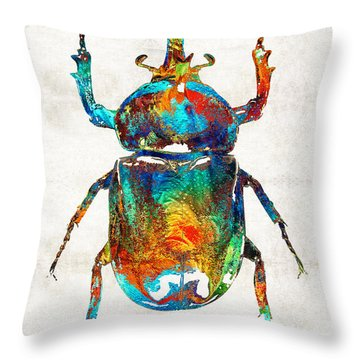 Colorful Beetle Art - Scarab Beauty - By Sharon Cummings Throw Pillow by Sharon Cummings