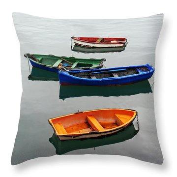 colorful boats on Santurtzi Throw Pillow
