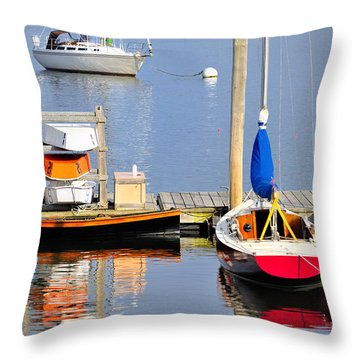 Colorful Boats Rockland Maine Throw Pillow