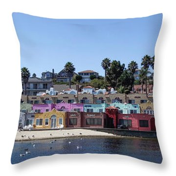 Colorful Buildings And Beach Throw Pillow