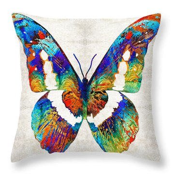 Colorful Butterfly Art By Sharon Cummings Throw Pillow
