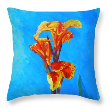 Colorful Canna Throw Pillow