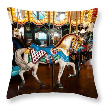 Throw Pillow featuring the photograph Colorful Carousel Horse by Jerry Cowart
