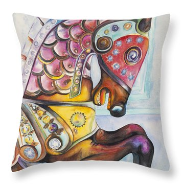 Colorful Carousel Horse  Throw Pillow by Patty Vicknair