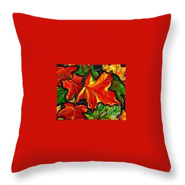 Throw Pillow featuring the painting Colorful Carpet by Jackie Carpenter