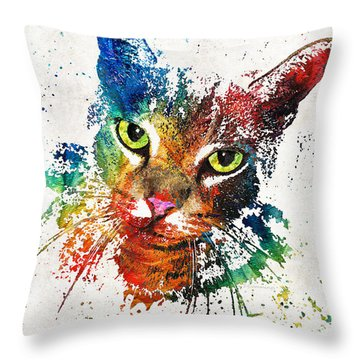 Colorful Cat Art By Sharon Cummings Throw Pillow