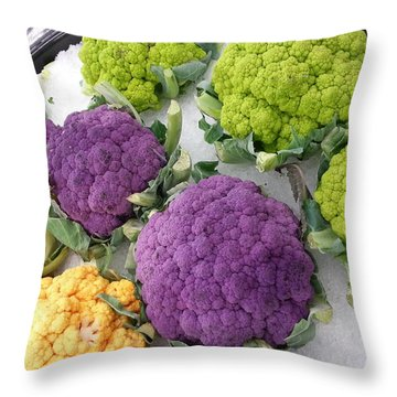 Throw Pillow featuring the photograph Colorful Cauliflower by Caryl J Bohn