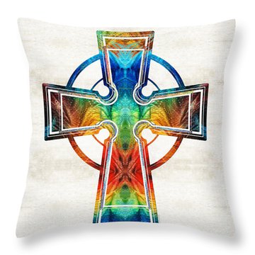 Colorful Celtic Cross By Sharon Cummings Throw Pillow
