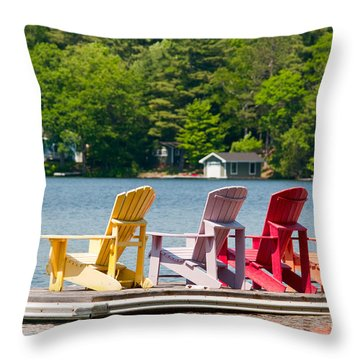 Throw Pillow featuring the photograph Colorful Chairs by Les Palenik