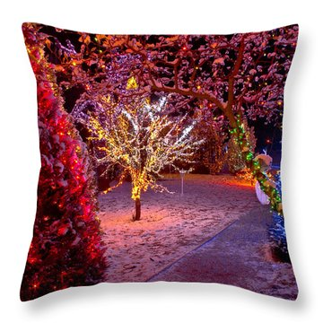 Colorful Christmas Lights On Trees Throw Pillow by Brch Photography
