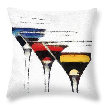Colorful Cocktails Throw Pillow by Georgi Dimitrov