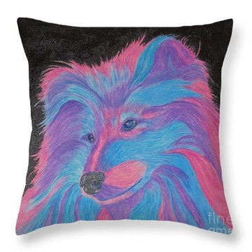 Colorful Collie Water Color Pencil Throw Pillow by Margaret Newcomb