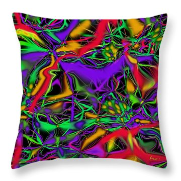 Throw Pillow featuring the mixed media Colorful Connections by Carl Hunter