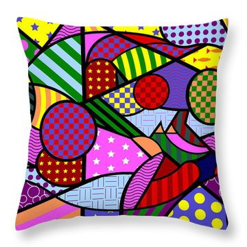 Throw Pillow featuring the digital art Colorful Couple 1 V-1 by Randall Henrie