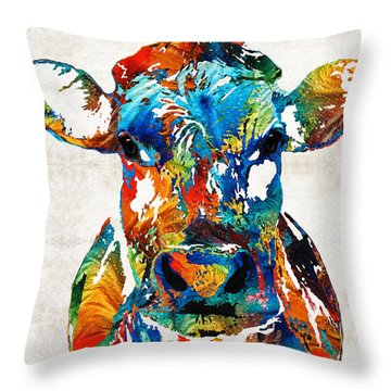 Colorful Cow Art - Mootown - By Sharon Cummings Throw Pillow by Sharon Cummings