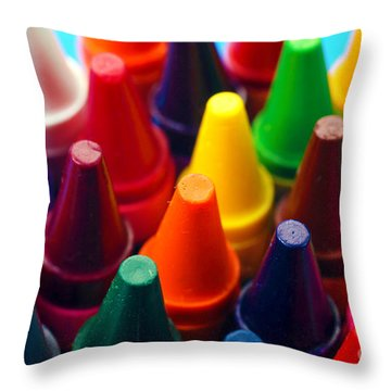 Colorful Crayons Closeup Throw Pillow