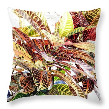 Colorful - Croton - Plant Throw Pillow