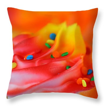 Colorful Cup Cake Throw Pillow by Darren Fisher