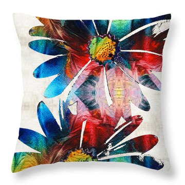 Colorful Daisy Art - Hip Daisies - By Sharon Cummings Throw Pillow