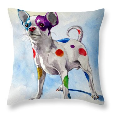 Colorful Dalmatian Chihuahua Throw Pillow by Christopher Shellhammer